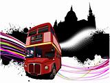 Grunge London images with double decker red bus image. Vector il