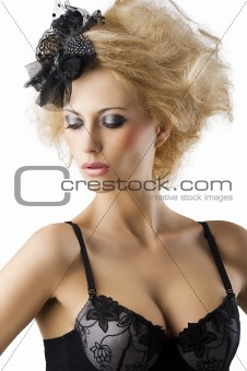 blond hairstyle sexy girl with bra underwear, she looks down