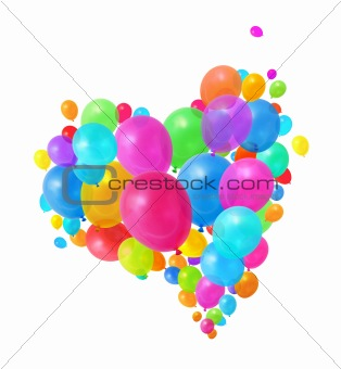 Colorful balloons heart group