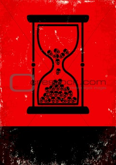 hourglass with skulls