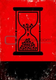 hourglass with skulls