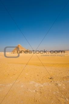 Sphinx Front Pyramids Vast Desert Cairo