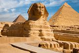 Full Sphynx Profile Pyramid Giza Egypt