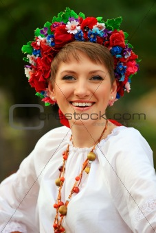 Young woman in traditional Ukrainian costume