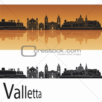 Valletta skyline in orange background
