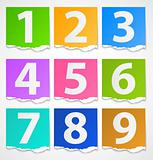 Colorful torn papers numbers