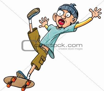 Cartoon skater falling of his skateboard.