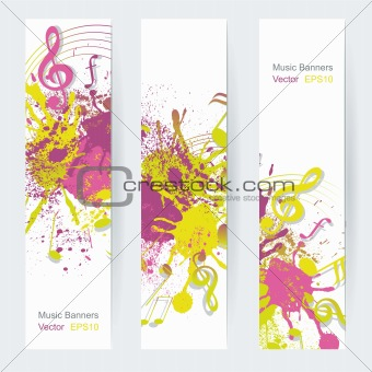 Music notes banner design, vector illustration