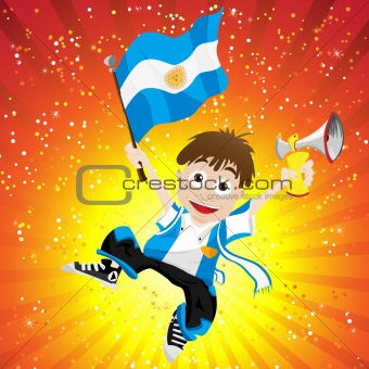 Argentina Sport Fan with Flag and Horn