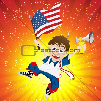 United States of America Sport Fan with Flag and Horn