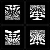 Set of abstract backgrounds in op art style.