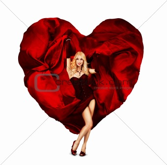 Beautiful Concept Queen of Hearts. Woman With Waving Fabric