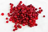 Cranberries on a linen tablecloth