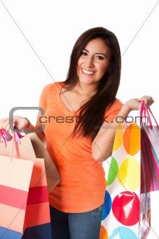 Happy young woman with presents