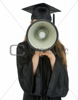 Graduation student speaking megaphone into camera
