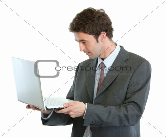 Modern businessman looking in laptops screen