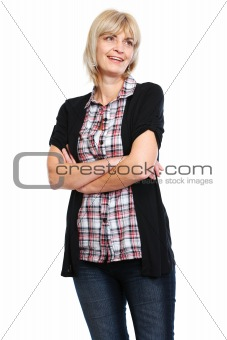 Portrait of smiling older woman with crossed arms
