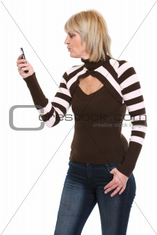 Middle age woman looking on mobile phone