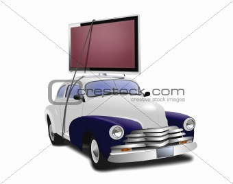 Car with TV on top