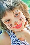 happy child with funny painted face