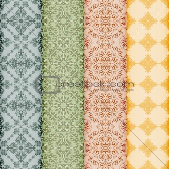 vector retro bookmarks with seamless floral patterns