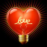 Light bulb in the Shape of heart