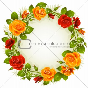 Vector red and yellow rose frame in the shape of circle