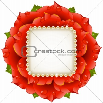 Vector red Rose circle frame with pearl necklace