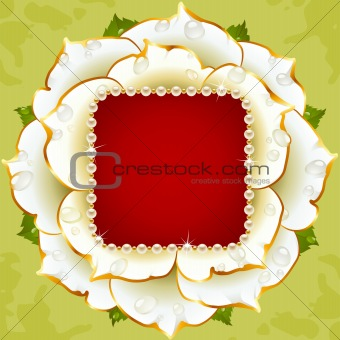 Vector White Rose circle frame with pearl necklace