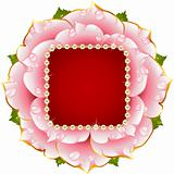Vector pink Rose circle frame with pearl necklace