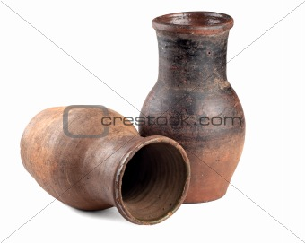 Clay jug  on white