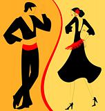 silhouette couple of  flamenco dancer