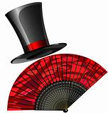 black top-hat and red fan