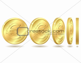 Gold coin with euro sign with different angles. Vector illustration isolated on white background