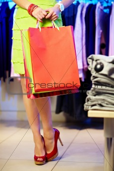 Female with paperbags