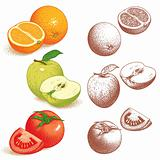 Orange, Apple, Tomato
