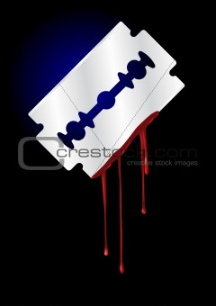 Razor Blade with Blood - vector illustration