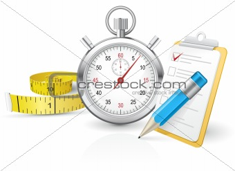 Stopwatch with clipboard and tape measure
