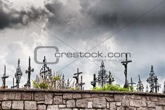 Graveyard with dark Clouds