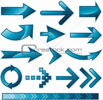 Blue arrow sign design collection set