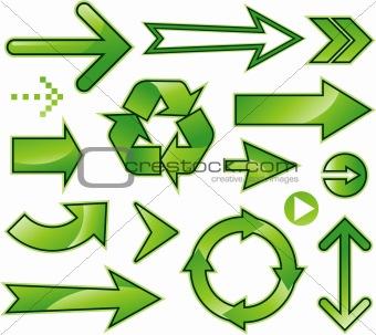 Green arrow sign design collection set