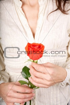 red rose white shirt