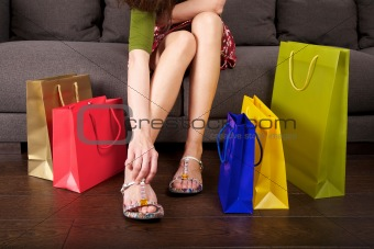 shopping woman dressing shoes