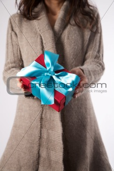 winter female with red gift