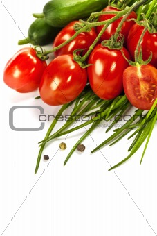 Tomatoes, chives and cucumbers