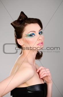 young beautiful woman with makeup portrait