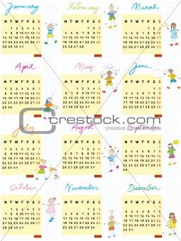 2013 calendar kids