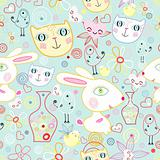 texture of funny cats and rabbits