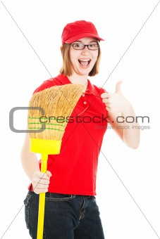 Enthusiastic Teenage Worker
