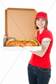Teen Girl Delivering Pizza